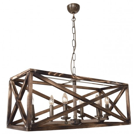Corp de iluminat Dalin cu 6 becuri, dulie E27, din lemn maro antichizat