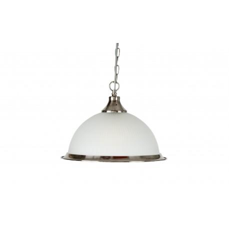 Pendul  Cojom, Glass,prindere lant, abajur sticla transparenta, metal, E27, inox saten