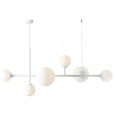 Candelabru  Cojom Katy 6 6xE27, metal alb, abajur sticla sferic, de dimensiuni diferite