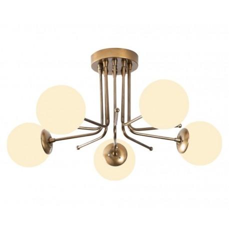 Lustra  Cojom Katy 5  5xE27, metal auriu, abajur sticla sferic,apropiata de tavan, inaltime 35 cm
