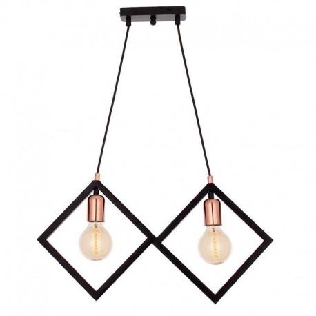 Lustra Cojom, Metal 2, metal,2x E27, negru mat cu mastile duliilor cuprate