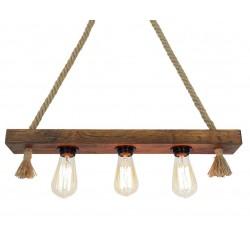 Corp de iluminat Cojom Wooden 3, cu 3 becuri,dulie E27, din lemn culoare maro antic si franghie