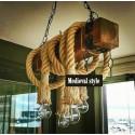 Corp de iluminat Cojom Rustica, cu 4 becuri, dulie E27, din lemn masiv si franghie