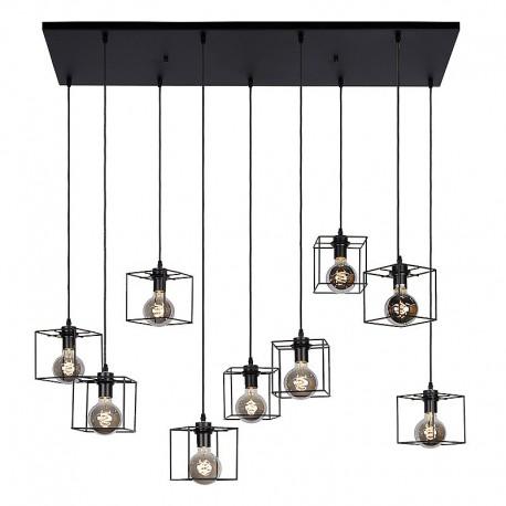 Lustra Cojom, Rain, 9x60W, E27, 220V, metal si lemn, culoare neagra