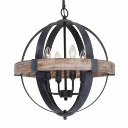 Pendul Cojom Bond 4 ,rustic-vintage, 4xE27,  lemn maro antic cu  metal negru