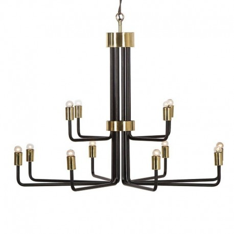 Candelabru Cojom King  12, modern/clasic, 12xE14, negru mat cu mastile duliilor auriu mat, metal