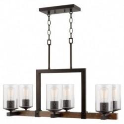 Lustra Cojom Keno 6, rustic vintage, 6xE27,  lemn maro cu  metal negru si abjaururi din sticla transparenta