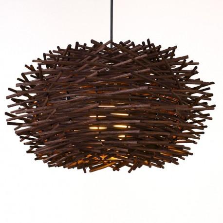 Pendul Cojom Nest, 1xE27, lemn maro, 50cm  diametru