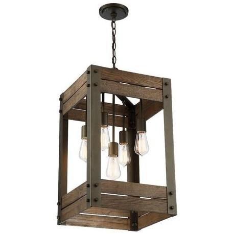 Pendul Cojom Bird box 5 ,rustic-vintage, 5xE27,  lemn maro cu  metal negru/maro