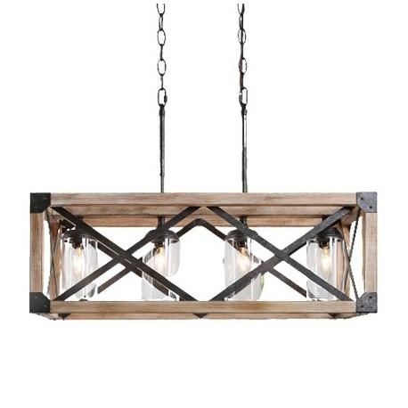 Candelabru Cojom Grace 4 ,rustic-vintage, 4xE27,  lemn maro cu  metal negru