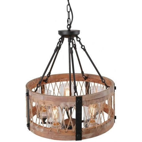 Lustra Cojom Dream farm 3, rustic vintage, 3xE27,  lemn maro cu  metal negru si abjururi din sticla transparenta