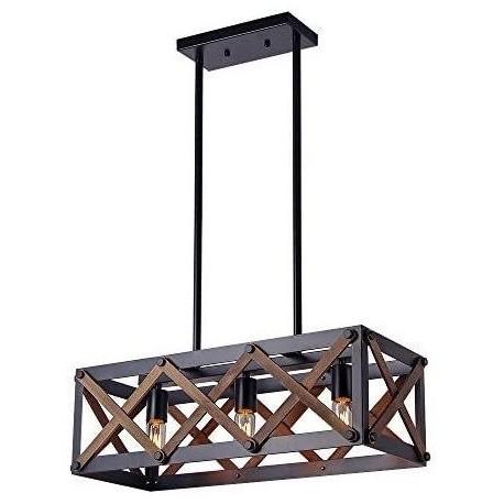 Lustra Cojom Cage3, rustic-vintage, 3xE27,  lemn maro cu  metal negru