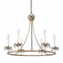 Candelabru Cojom Rose Marie 6, retro/clasic, 6xE14, auriu mat, metal cu cristale