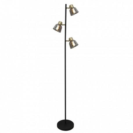 Lampadar Smoky KL107008, 3 x E14, negru + alama antica + fumuriu