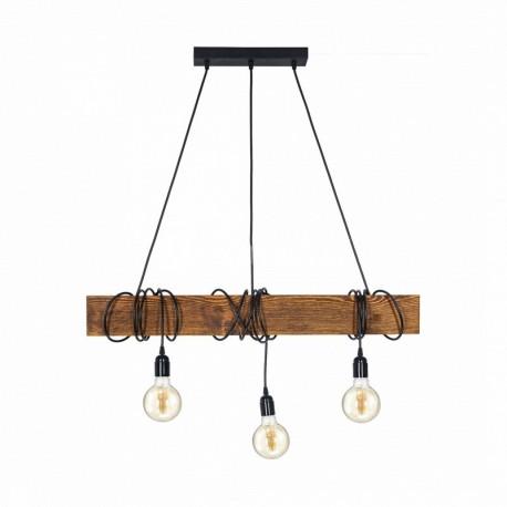 Lustra Corso 3m rustic-vintage Cojom, 3xE27, din lemn maro antichizat si cablu negru