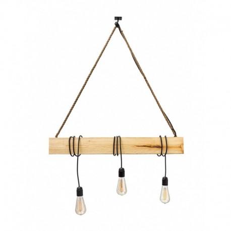 Lustra Corso 3n rustic-vintage Cojom, 3xE27, din lemn natur si cablu negru