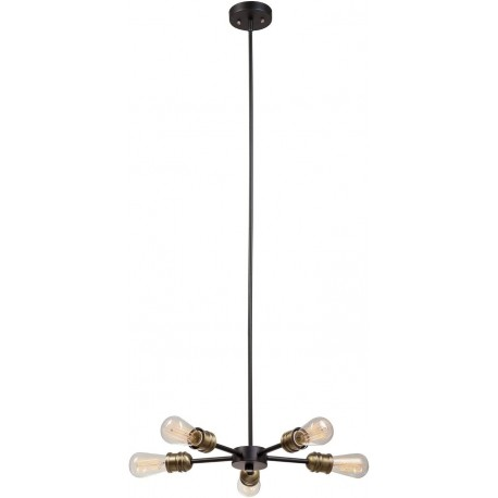 Candelabru Cojom Vivi 5n 5XE27, neagra, inaltime reglabila, stil modern industrial