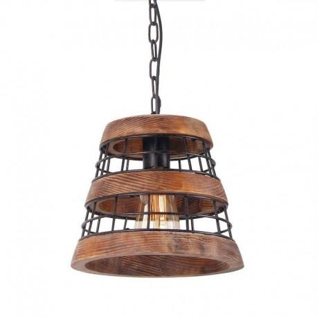 Pendu Cojom Ares 1m cos, retro/vintage, 1xE27, lemn maro cu metal negru
