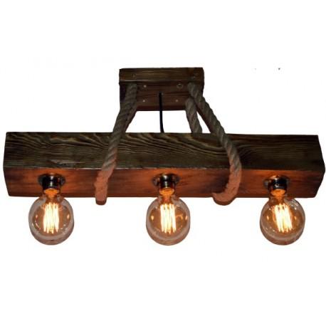 Corp de iluminat Cojom Waran 3, cu 3 becuri,dulie E27, din lemn culoare maro antic si franghie