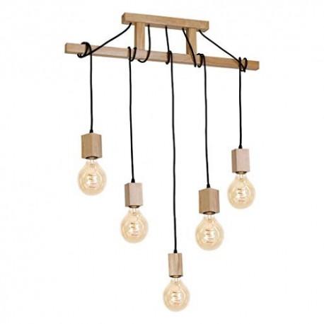 Lustra rustic-vintage Cojom, Velo,5n, din lemn natur si cablu textil,5xE27, pendul suspendat