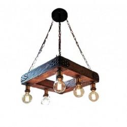 Corp de iluminat Cojom Country home 5m cu 6becuri, dulie E27, din lemn masiv si lant metalic