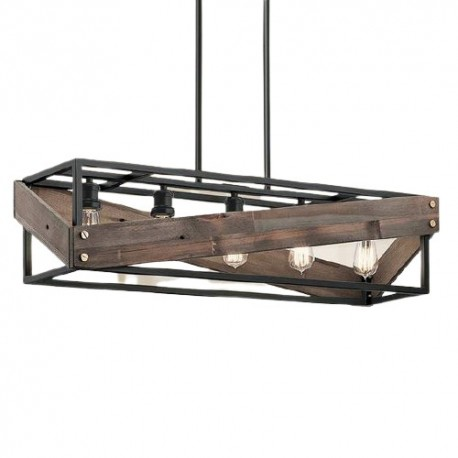 Lustra Cojom Mag 5m, rustic-vintage, 5xE27, lemn maro cu metal negru
