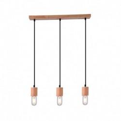 Lustra Cojom Lemn 3nnl, din lemn masiv, fag, 3 becuri cu dulie E27, culoare natur cu cablu negru